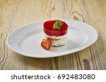 dessert on a beautiful wooden...   Shutterstock . vector #692483080