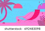 beach summer vector illustration | Shutterstock .eps vector #692483098