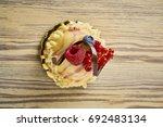 dessert on a beautiful wooden...   Shutterstock . vector #692483134