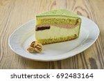dessert on a beautiful wooden...   Shutterstock . vector #692483164