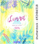 summer sale flyer template... | Shutterstock .eps vector #692486518