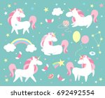 unicorn character set. cute... | Shutterstock .eps vector #692492554