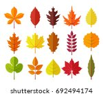Colorful Autumn Leaves Set ...
