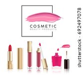 cosmetics sale banner with set... | Shutterstock .eps vector #692497078