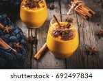 traditional autumn dishes ... | Shutterstock . vector #692497834