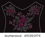 elegant embroidery bouquet with ... | Shutterstock . vector #692501974