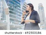 double exposure of business... | Shutterstock . vector #692503186
