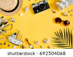flat lay traveler accessories... | Shutterstock . vector #692504068
