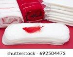 terry bath towels  red feather... | Shutterstock . vector #692504473