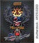 vintage motorcycle label | Shutterstock .eps vector #692513203