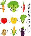 funny cartoon vegetable... | Shutterstock .eps vector #692515024