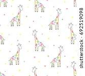 seamless cute giraffe pattern.... | Shutterstock .eps vector #692519098