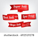 a set of red paper sale banners.... | Shutterstock .eps vector #692519278