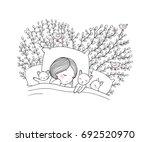 girl and cats sleep in bed.good ... | Shutterstock .eps vector #692520970