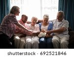 multi ethnic senior friends... | Shutterstock . vector #692521846