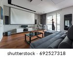 gray and white living room with ... | Shutterstock . vector #692527318