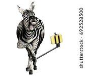 zebra full height smiling...   Shutterstock .eps vector #692528500