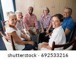 portrait of smiling female... | Shutterstock . vector #692533216