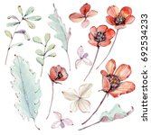 watercolor leaves and flowers... | Shutterstock . vector #692534233