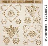 set of gold damask ornaments....   Shutterstock .eps vector #692538928