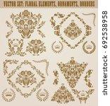 set of gold damask ornaments....   Shutterstock .eps vector #692538958