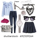 set of stylish clothes woman... | Shutterstock . vector #692539264