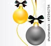 christmas balls  black white ... | Shutterstock . vector #692541754