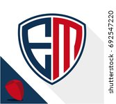 icon logo   shield badge with a ... | Shutterstock .eps vector #692547220