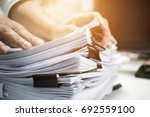 businessman hands working in... | Shutterstock . vector #692559100