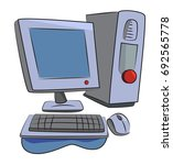 cartoon image of computer icon. ...