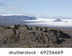 Beautiful lava formation and Langjokull in  Iceland - stock photo