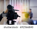 covering an event on stage with ... | Shutterstock . vector #692566840