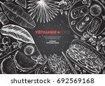vietnamese food top view frame. ... | Shutterstock .eps vector #692569168
