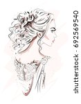 hand drawn beautiful young... | Shutterstock .eps vector #692569540