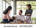 young asian businessman working ... | Shutterstock . vector #692582284