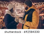 christmas time together  young... | Shutterstock . vector #692584330