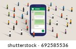group chat community of people... | Shutterstock .eps vector #692585536