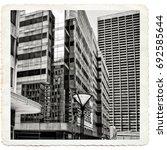 vintage. postcard. skyscrapers... | Shutterstock . vector #692585644