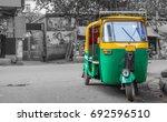 common indian auto rickshaw on... | Shutterstock . vector #692596510
