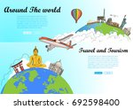 travel around the world and... | Shutterstock .eps vector #692598400