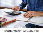 businessman hand working with... | Shutterstock . vector #692607640