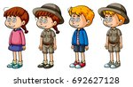 children with dizzy faces... | Shutterstock .eps vector #692627128