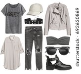 set of stylish clothes woman...   Shutterstock . vector #692630869