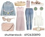 set of stylish clothes woman... | Shutterstock . vector #692630890