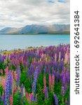landscape at lake tekapo and... | Shutterstock . vector #692641384