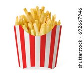 french fries in red striped box ... | Shutterstock . vector #692667946