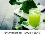 glass of broccoli juice ... | Shutterstock . vector #692671648