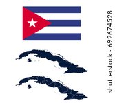 navy blue cuba map and flag... | Shutterstock .eps vector #692674528