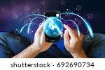 world connected. social network ... | Shutterstock . vector #692690734