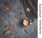 autumn composition. cup of... | Shutterstock . vector #692692918